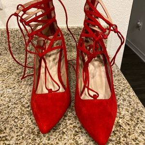 Red Lace Up party shoes